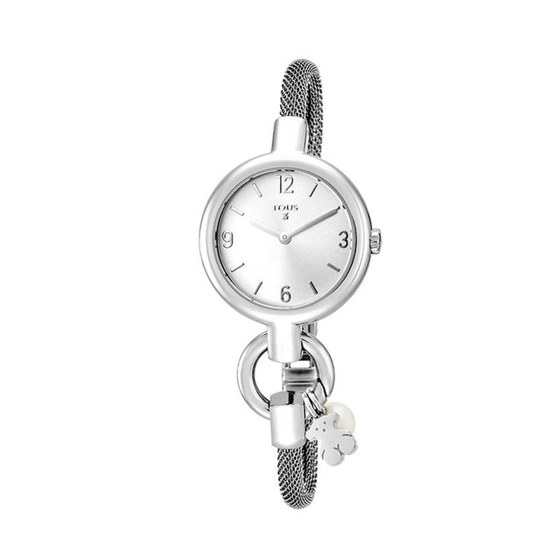 Reloj Tous de mujer 800350870 Hold, en plateado con colgante de perla.