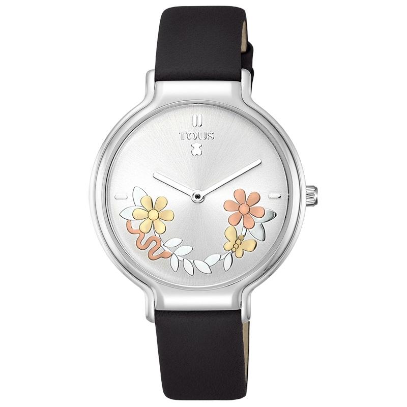 Reloj Tous de mujer 800350900 Real Mix, con estampado floral en esfera y correa negra.
