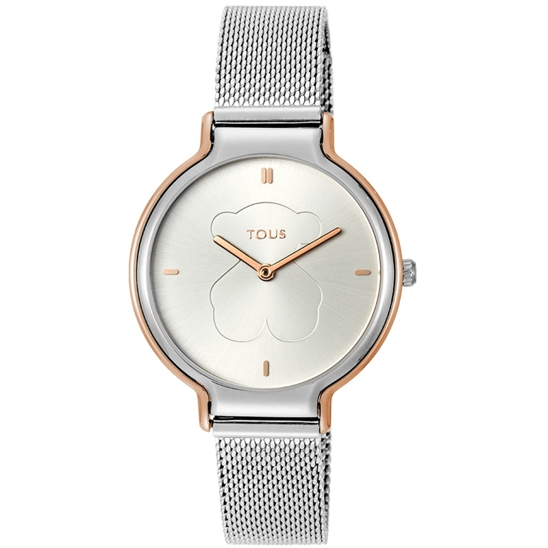 Reloj Tous de mujer 800350890 Real Bear, en acero con detalles rosados.