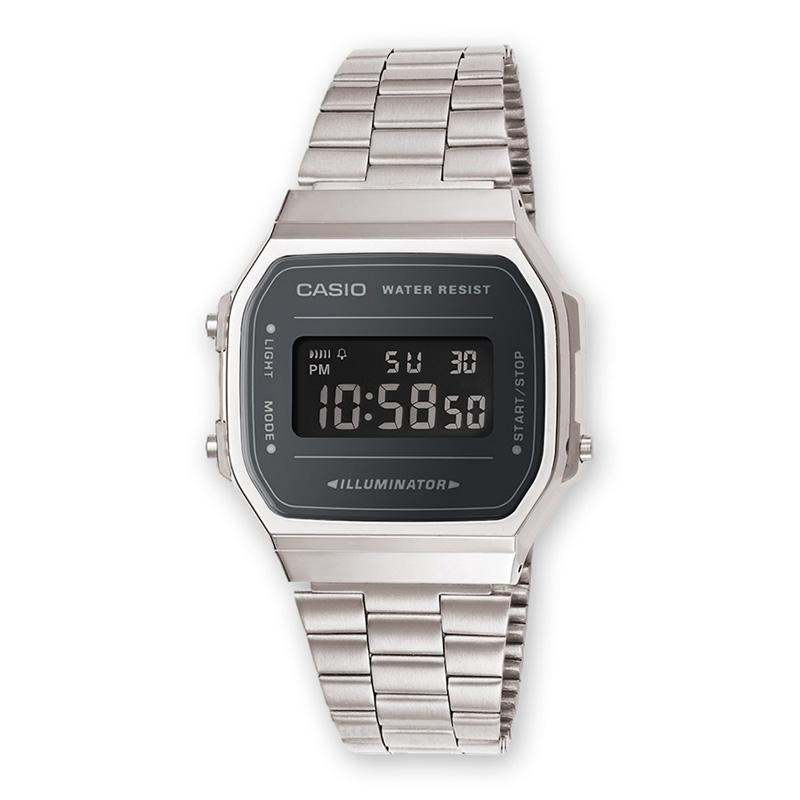 Reloj Casio A168WEM-1EF plateado digital con esfera en gris oscuro, de Retro Collection.