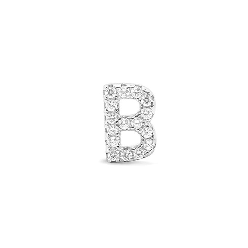 Colgante Letra B de plata rodiada y circonitas, de Luxenter ref. PH059B00.