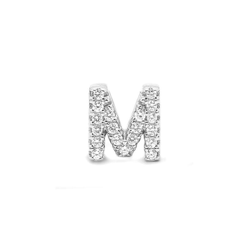 Colgante Letra M de plata rodiada y circonitas, de Luxenter ref. PH059M00.
