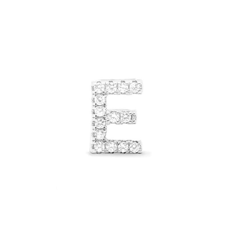 Colgante Letra E de plata y circonitas, de Luxenter ref. PH059E00.