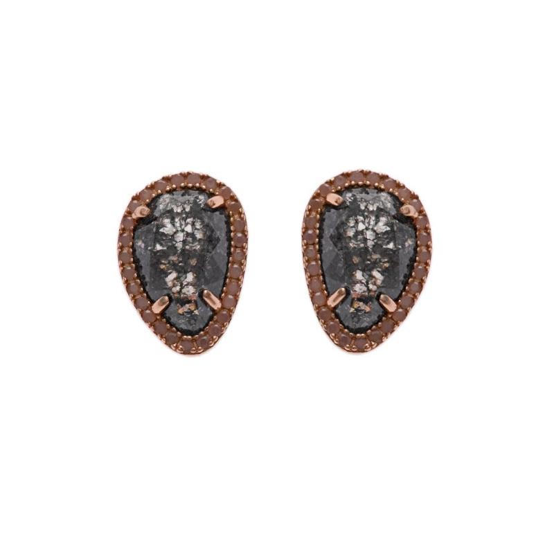 Pendientes de plata rosada y cuarzo gris, de Salvatore Plata, ref. 244A0021.