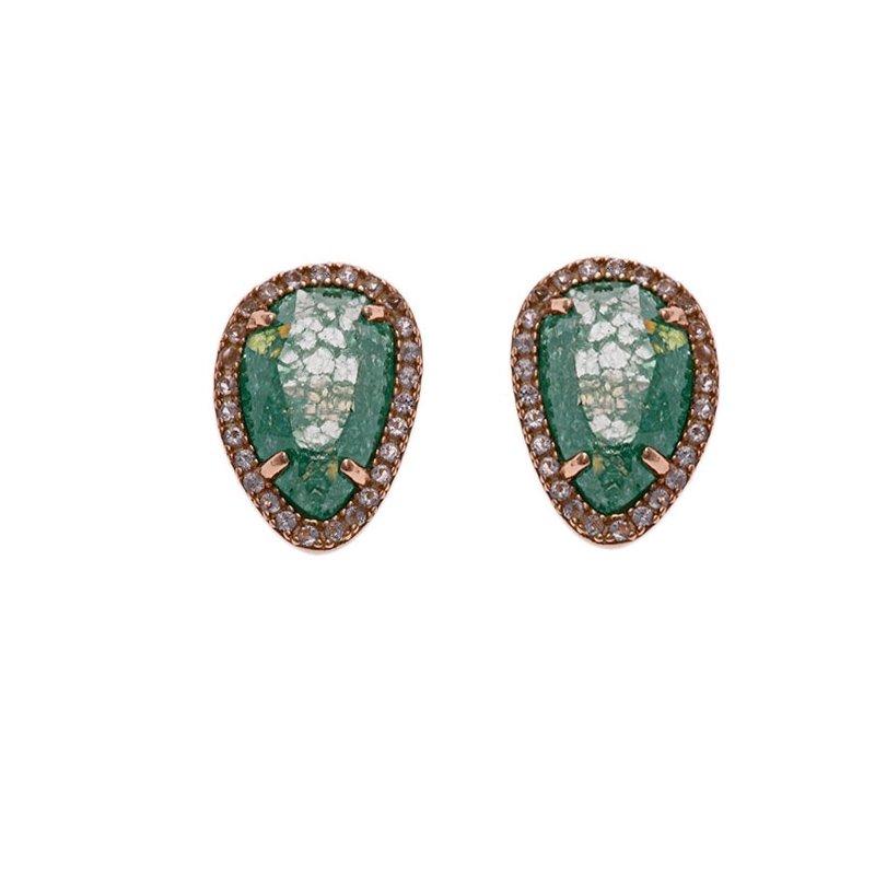 Pendientes de plata rosada y cuarzo verde, de Salvatore Plata ref. 244A0022.