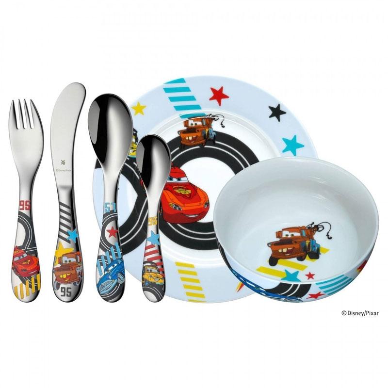 Cubiertos de niños con vajilla de Cars, en acero y porcelana, 6 piezas de WMF, ref. 1286019964.