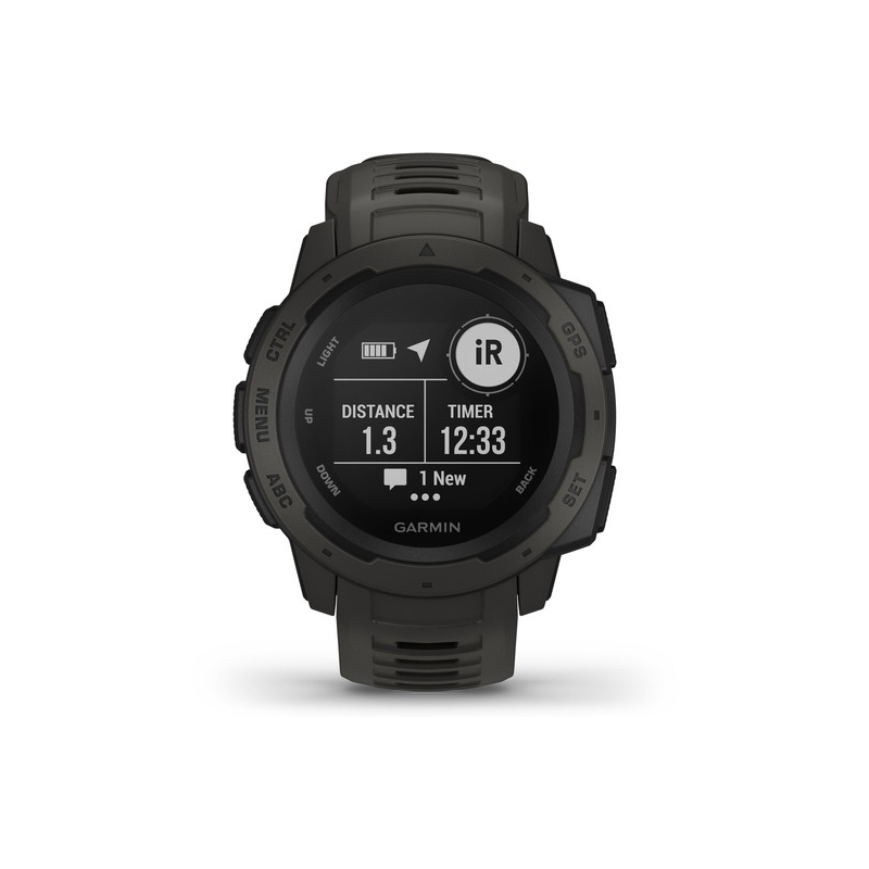Reloj Garmin Instinct para hombre, con GPS y en resina negra, 010-02064-00.