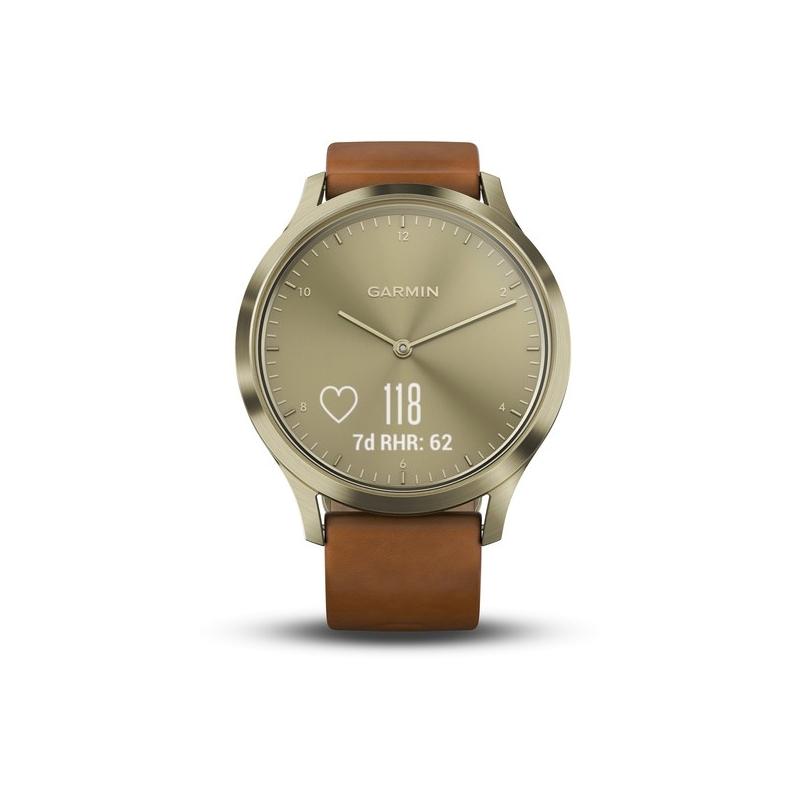 Reloj Garmin Vivomove HR de caja dorada y correa de piel marrón, 010-01850-05.
