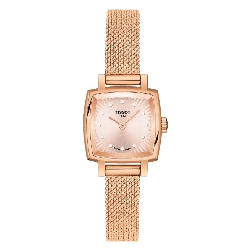 Reloj Tissot Lovely de mujer, en acero chapado en oro rosé, diamantes y malla, T0581093345600.
