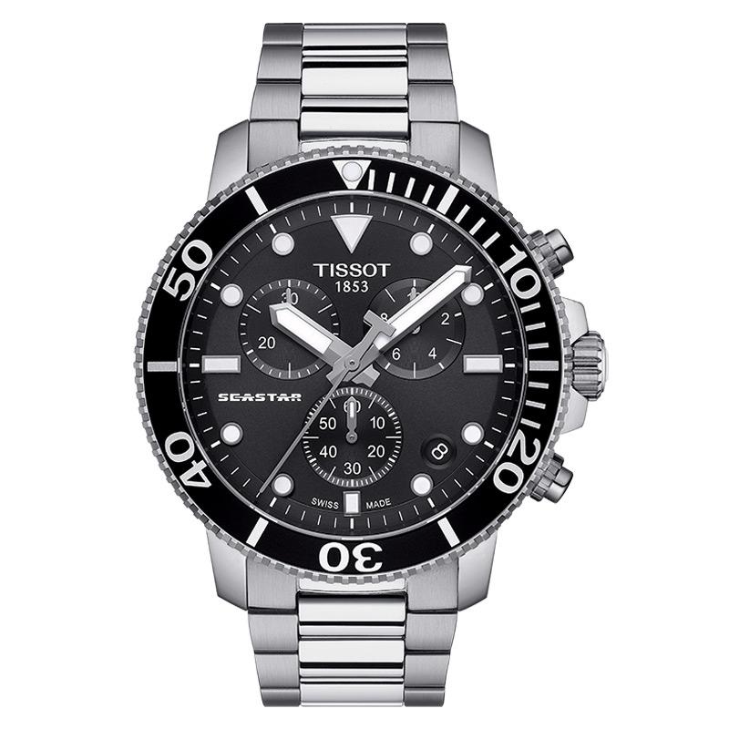 Reloj Tissot Seastar 1000 con cronógrafo, 300 metros, acero y esfera negra, T1204171105100