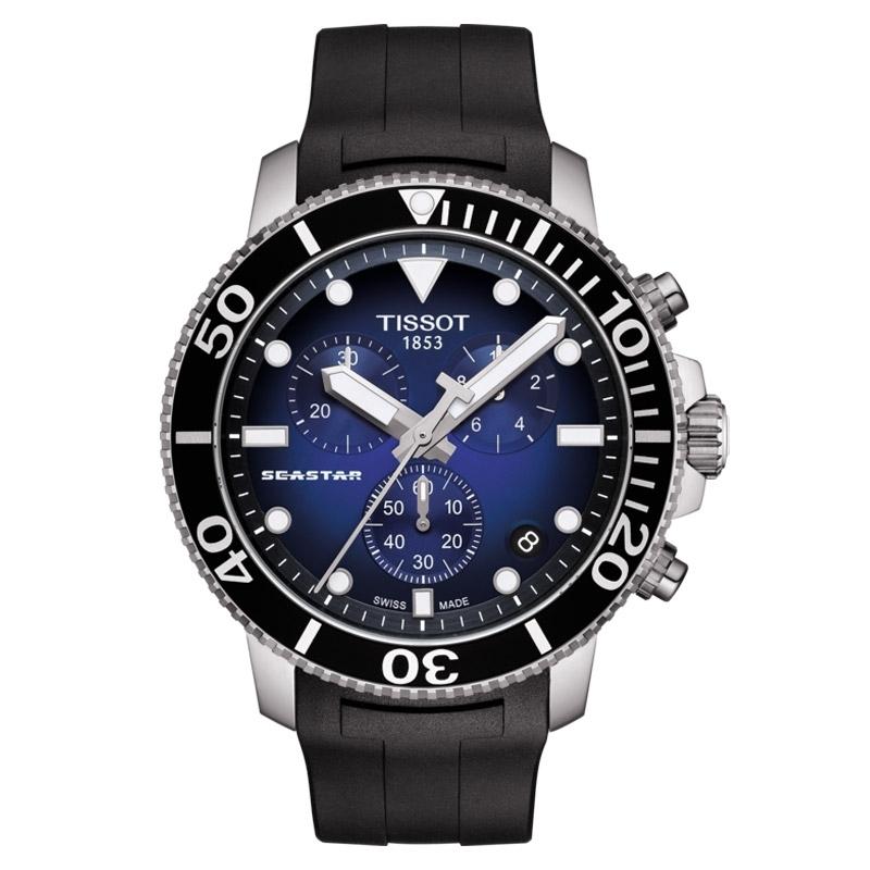 Reloj Tissot Seastar 1000 Hombre con cronógrafo, 300 metros y esfera azul, T1204171704100.