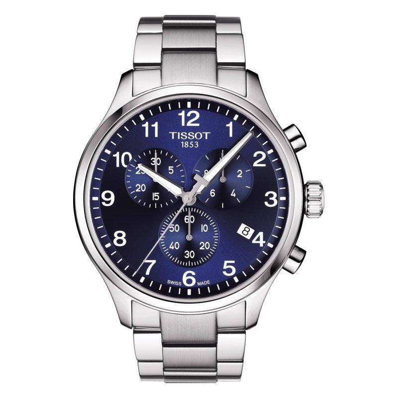 Reloj Tissot Chrono XL para hombre en acero, cronógrafo y esfera azul, T1166171104701.