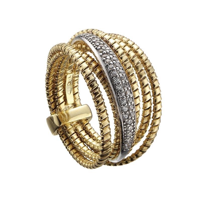 85d9a032f71f Anillo ancho de plata dorada y circonitas Tubogas