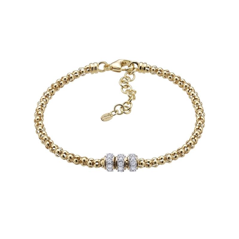 Pulsera de plata dorada y circonitas de estilo italiano, Links de Durán Exquse 00507216.