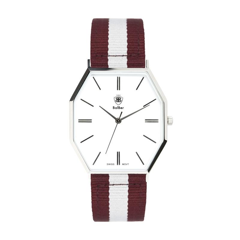 Reloj Balber Exeter S White Burgun con correa a rayas blanca y rojas.