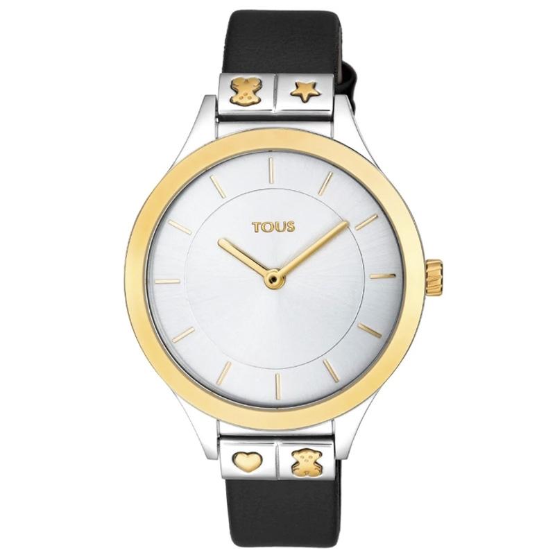 Reloj Tous de mujer Lord, acero y dorado con correa de piel negra, 900350165.