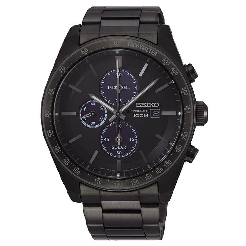 Reloj Seiko Solar de hombre en negro con cronógrafo y taquímetro, SSC721P1