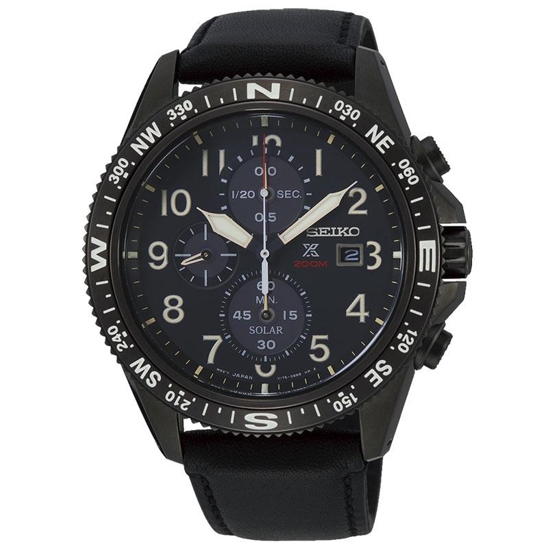 Reloj Seiko Prospex SSC707P1 solar de hombre con cronógrafo en negro.