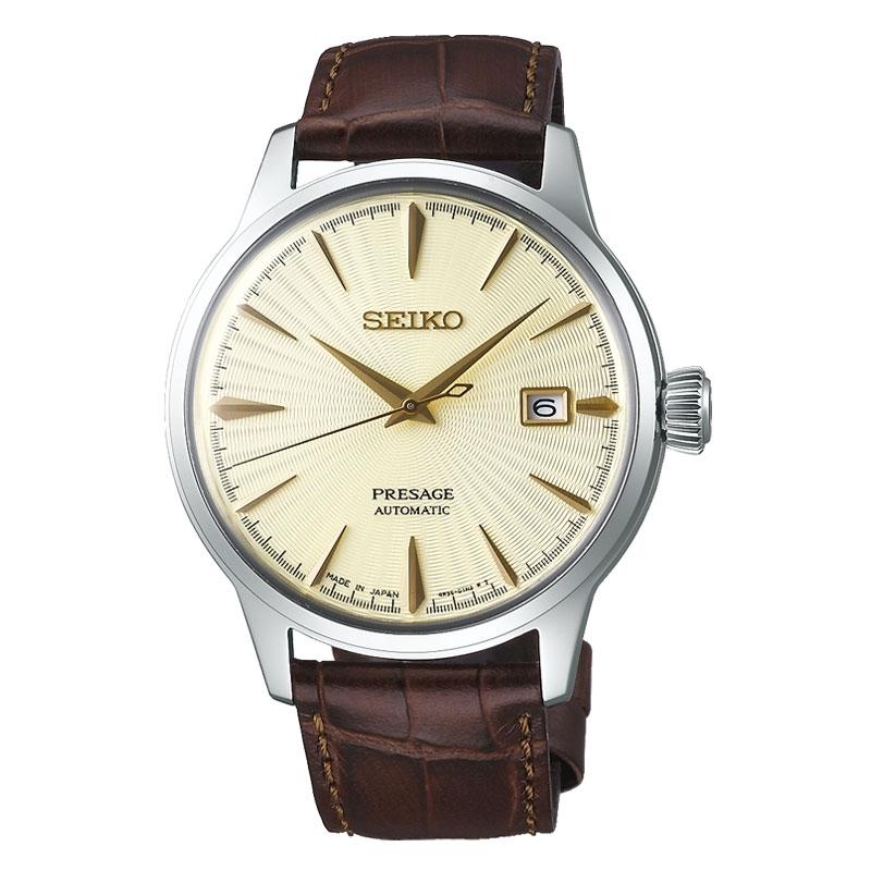 Reloj Seiko Presage SRPC99J1 automático para hombre con esfera dorada.