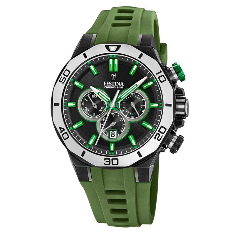 zapatos de separación 98c20 156cc Reloj Festina Chrono Bike de hombre con cronógrafo y correa silicona verde  militar, F20450/4.