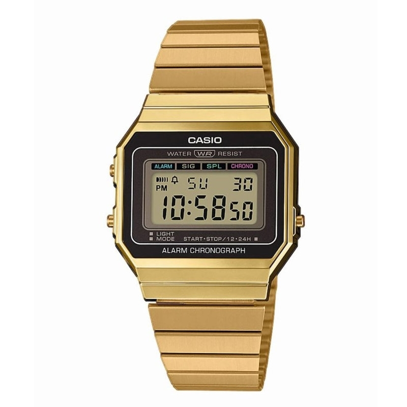 Reloj Casio dorado Retro Collection con esfera negra, A700WEG-9AEF.