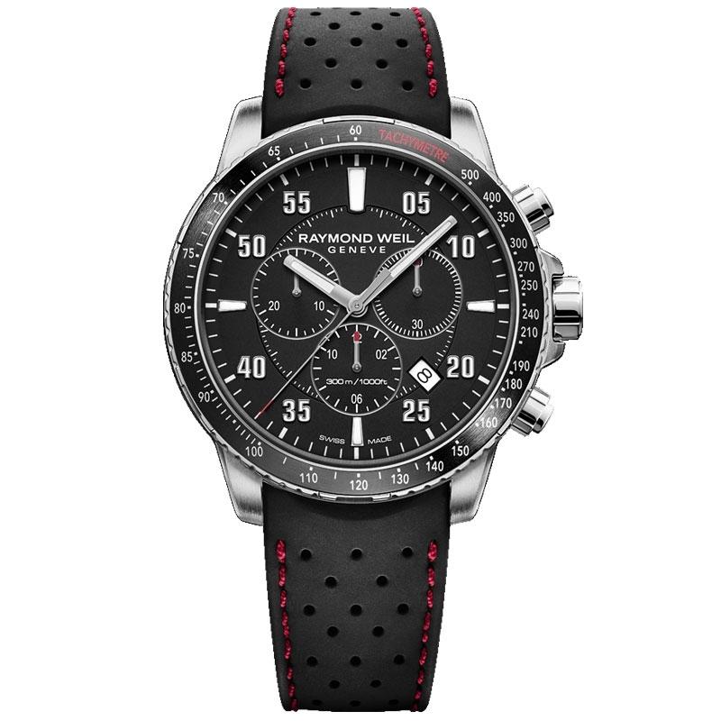 Reloj Raymond Weil Tango de hombre cronógrafo con correa de silicona negra, 8570-SR1-05207.
