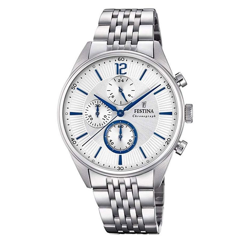 Reloj Festina de hombre Timeless Chronograph en acero y detalles azul, F20285/1.