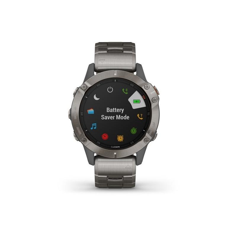 Reloj Garmin fēnix® 6 Zafiro Edition en titanio con GPS, música y correa extra 010-02158-23