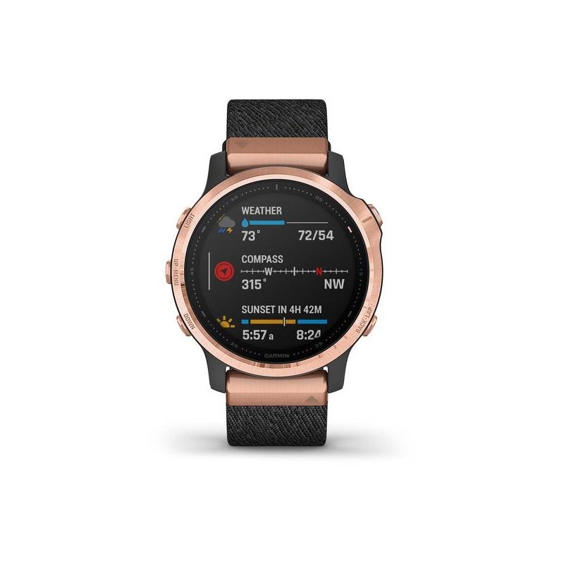 Reloj Garmin fēnix 6S Zafiro Edition para mujer en negro con detalles rosados, 010-02159-37.