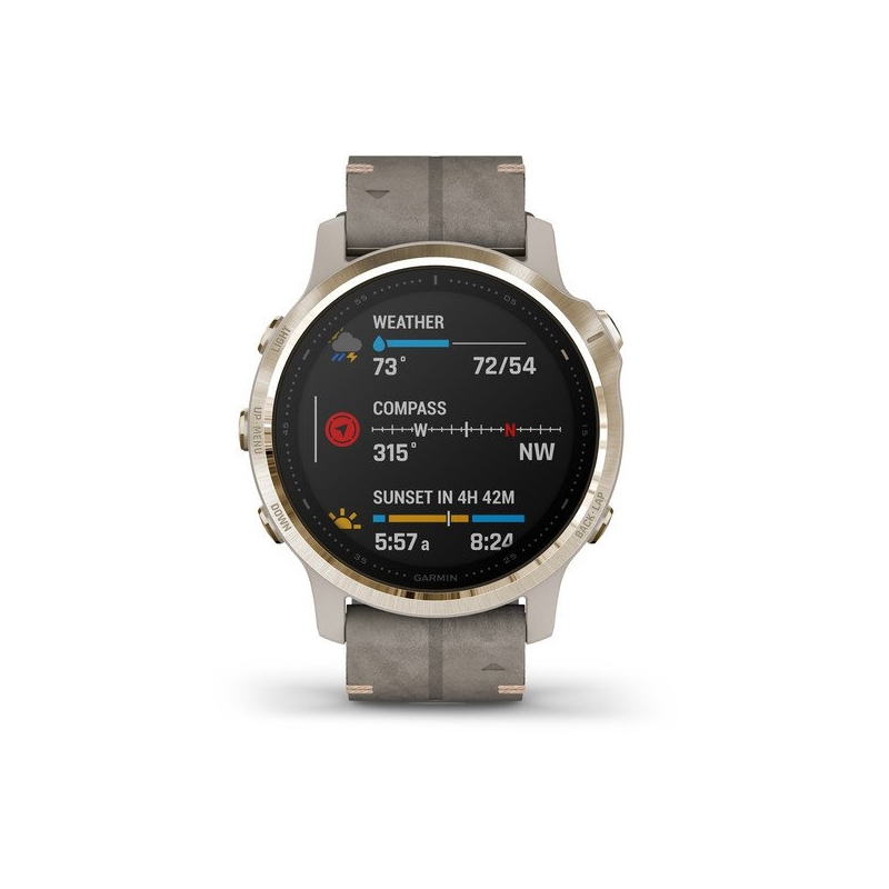 Reloj Garmin fēnix 6S Zafiro Edition Mujer en acero con correa de piel gris, 010-02159-40.