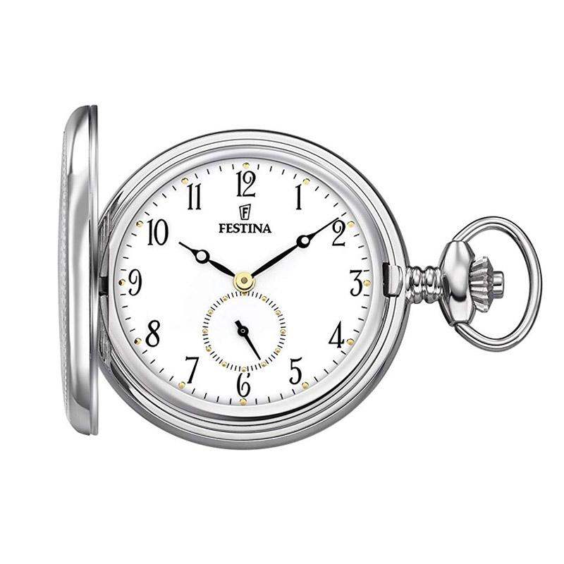 Reloj Festina de bolsillo para hombre plateado con tapadera, F2026/1.