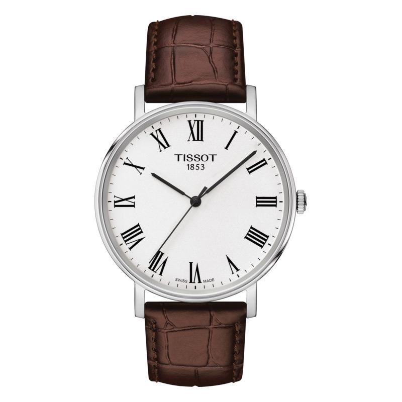 Reloj Tissot Everytime Medium de hombre con correa de piel marrón, T1094101603300.