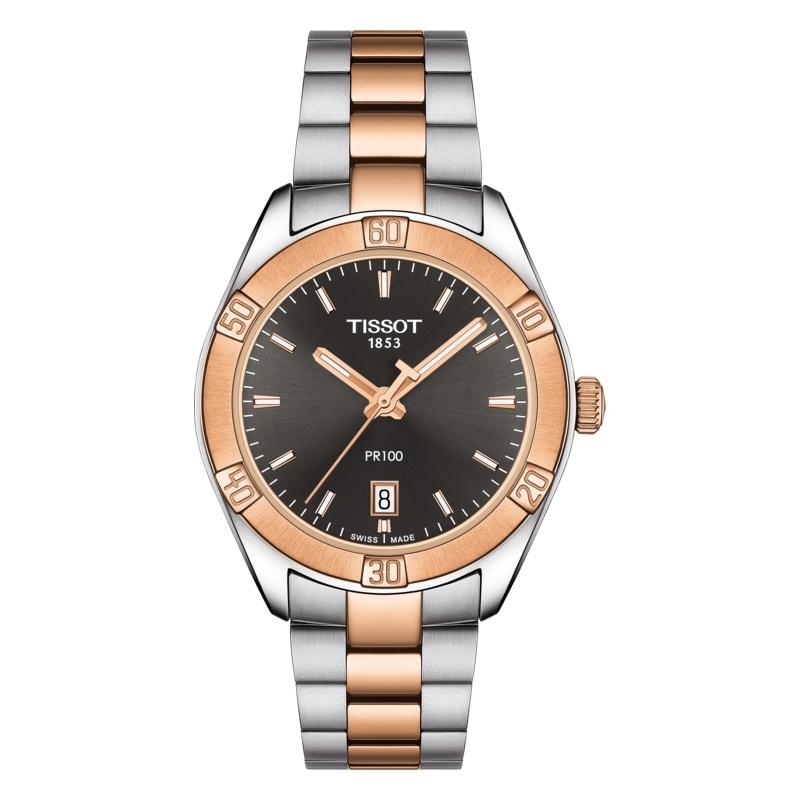 Reloj Tissot PR 100 Sport Chic de mujer bicolor con esfera negra, T1019102206100.