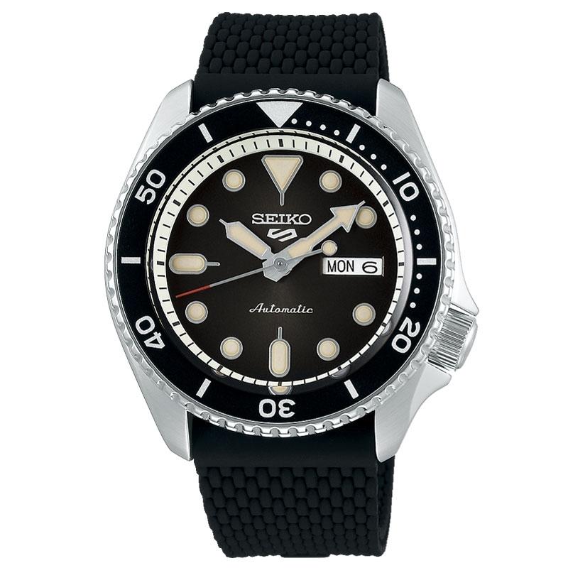 Reloj Seiko 5 Sports automático de hombre con esfera y correa negras, SRPD73K2.