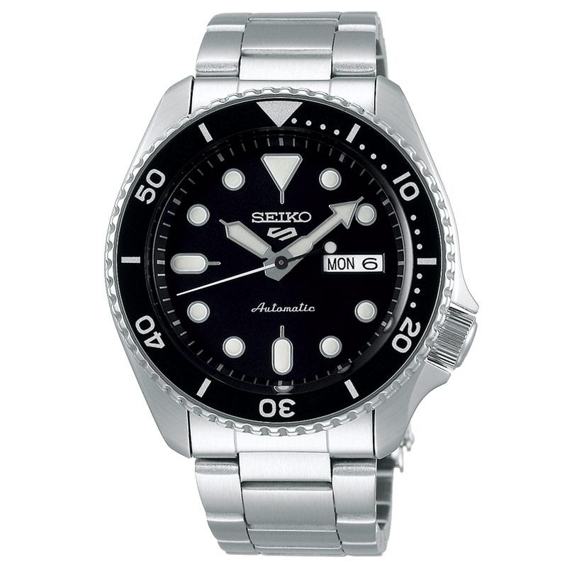 Reloj Seiko 5 Sports automático para hombre en acero con esfera negra, SRPD55K1.