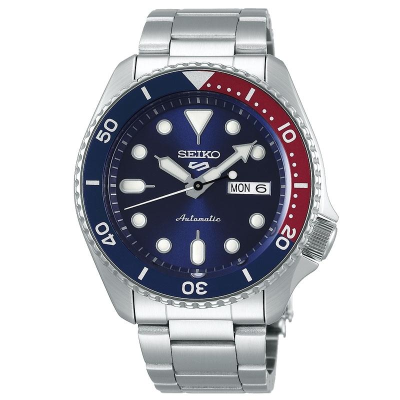 Reloj Seiko 5 Sports automático en acero con bisel azul/rojo, SRPD53K1.