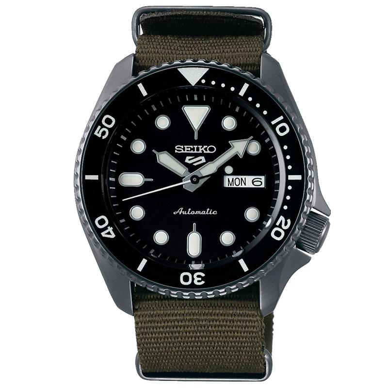 Reloj Seiko 5 Sports automático de hombre con correa NATO verde, SRPD65K4.