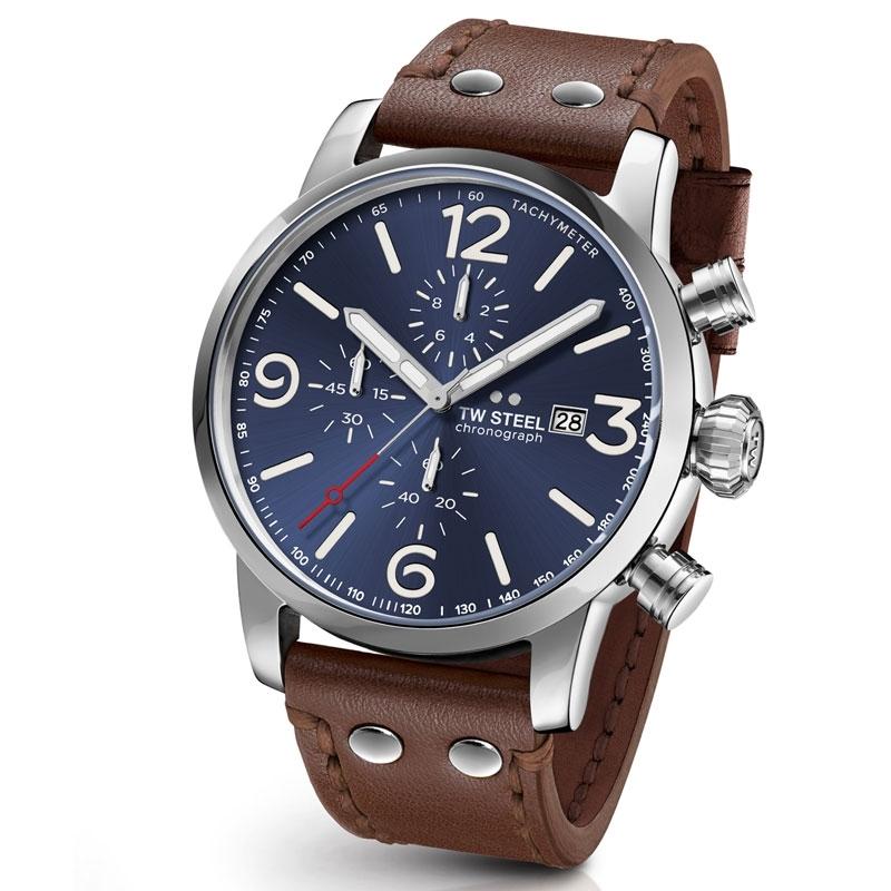 Reloj Tw Steel Maverick para hombre con esfera azul, cronógrafo y correa, MS104.