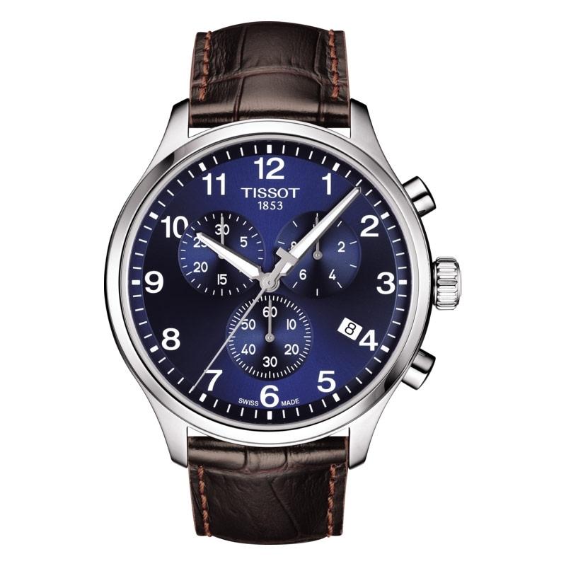 Reloj Tissot Chrono XL Classic para hombre, con esfera azul y correa de piel marrón, T1166171604700.