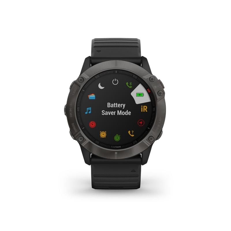 Reloj Garmin Fenix 6X DLC gris carbón con correa silicona negra, 010-02157-11.