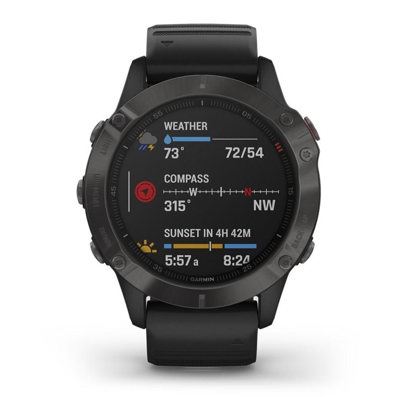Reloj Garmin fēnix® 6 Zafiro Edition en negro con bisel DLC gris y correa negra, 010-02158-11.