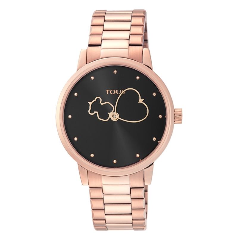 Reloj Tous Bear Time de mujer en acero chapado de oro rosé y esfera negra, 900350320.