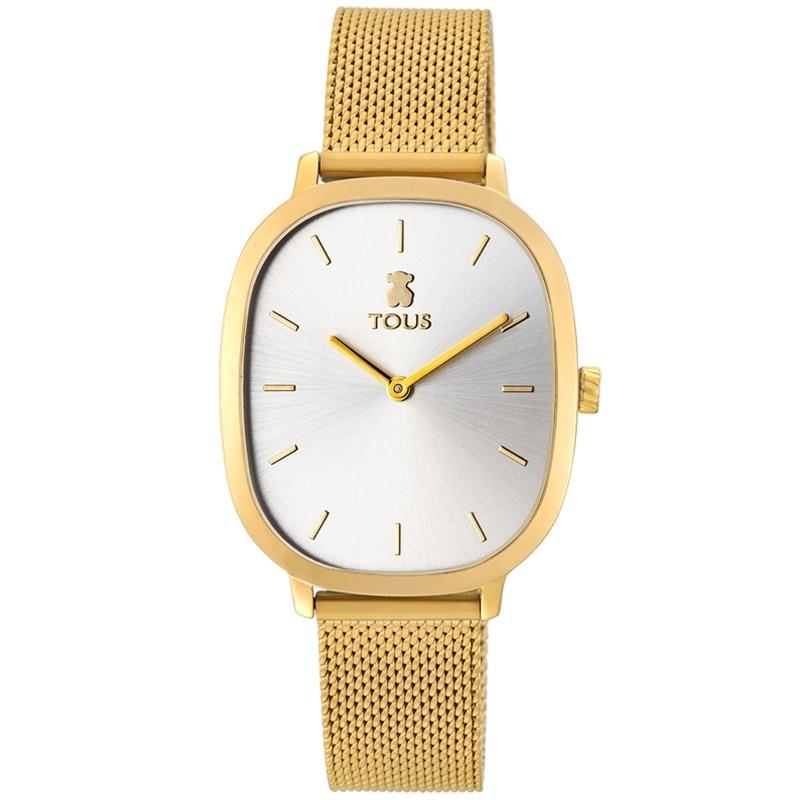 Reloj Tous Heritage de mujer dorado con caja rectangular y malla, 900350400.