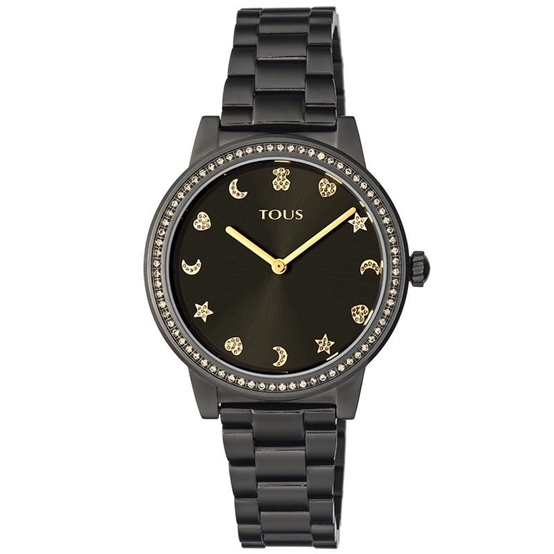 Reloj Tous Nocturne de mujer en negro con detalles dorados y motivos de piedras, 900350415.