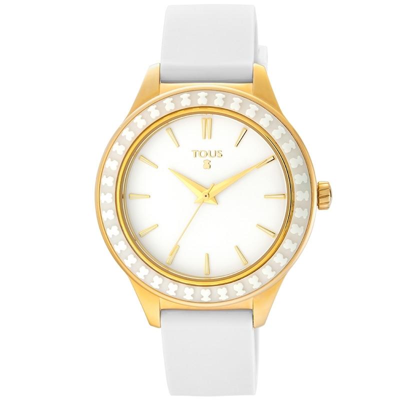 Reloj Tous Straight de mujer con caja dorada y bisel de cerámica blanco, 900350375.