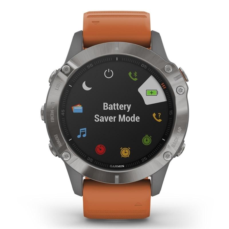 Reloj Garmin fēnix® 6 edición Zafiro con caja de titanio, correa naranja 010-02158-14.