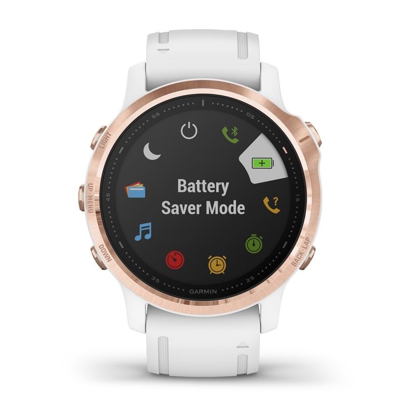 Reloj Garmin fēnix 6S Pro de mujer, en blanco con detalles rosados, 010-02159-11.