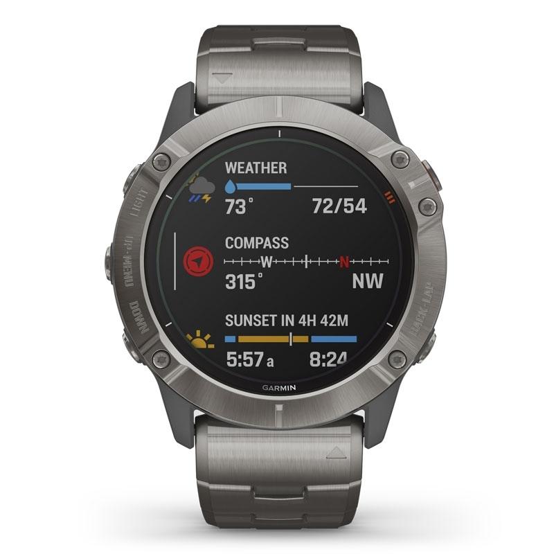 Reloj Garmin fēnix 6X Edición Pro Solar en titanio, con correa extra naranja, música y GPS, 010-02157-24.