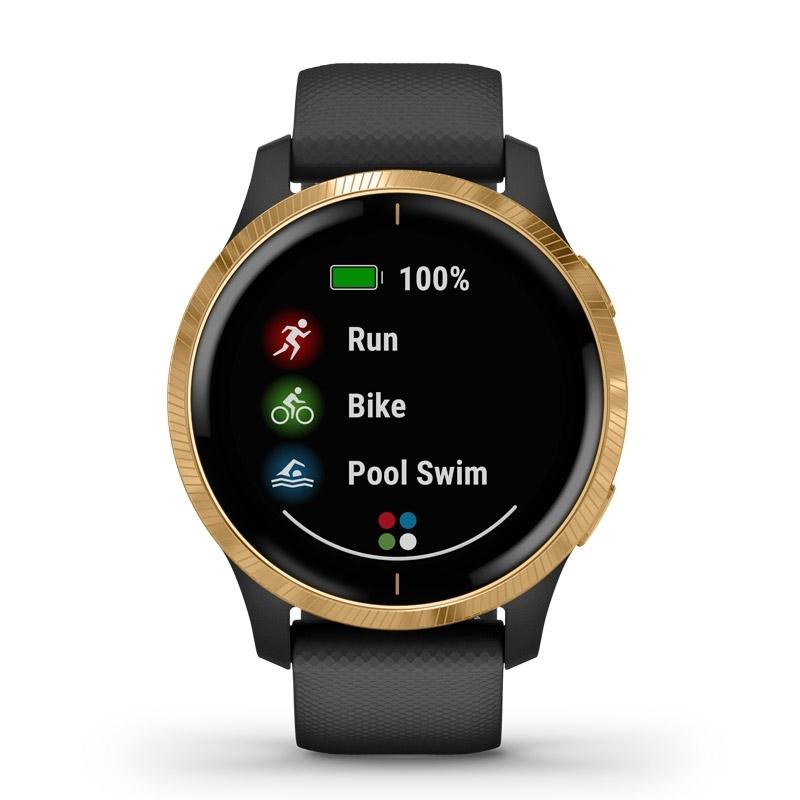 Reloj Garmin Venu™ en negro y dorado, con GPS y música, 010-02173-32.