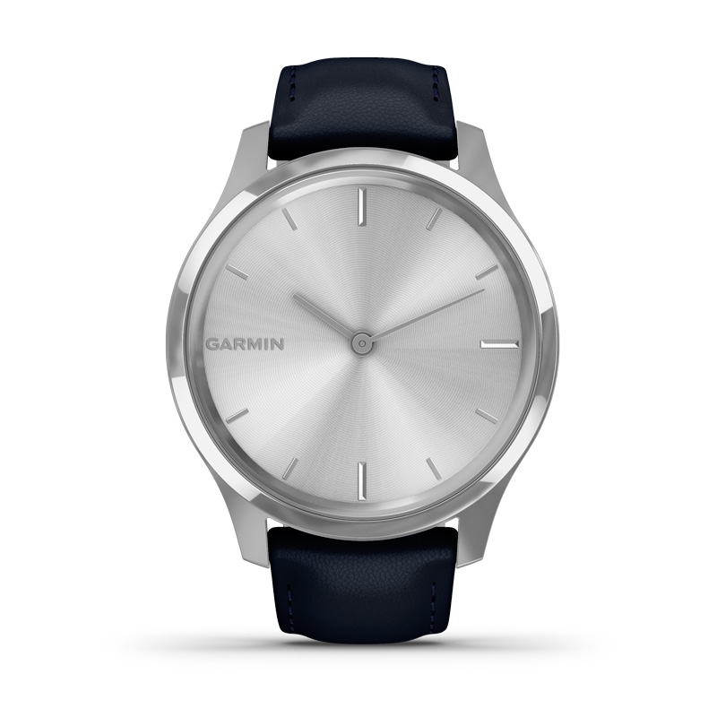 Reloj Garmin vívomove Luxe plateado y correa azul, en 42 mm, 010-02241-00.